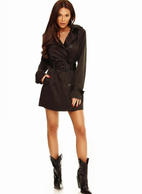 Trench dama cu gluga negru la moda