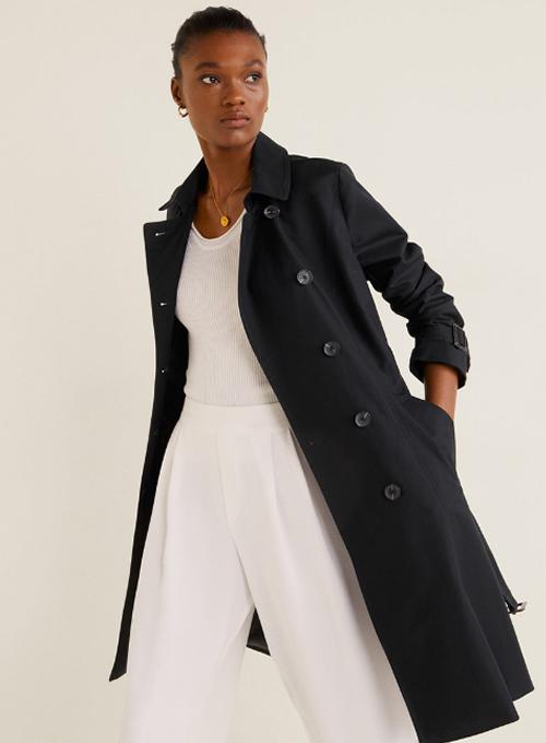 Trench dama negru elegant