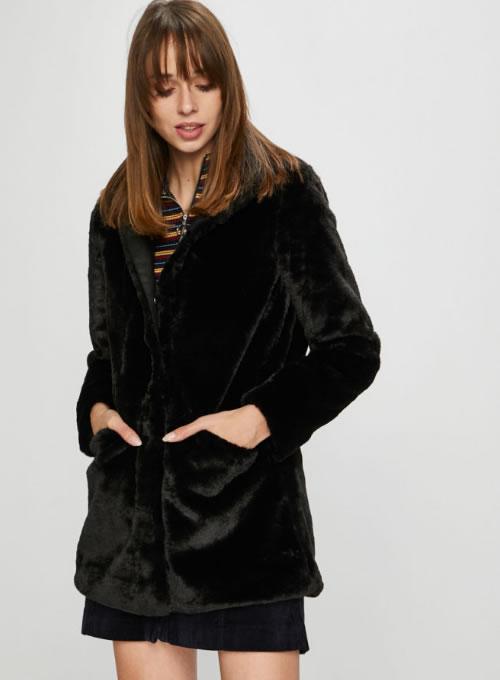Palton dama negru din blana artificiala