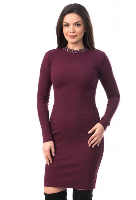 Rochie tricotata ieftina bordo