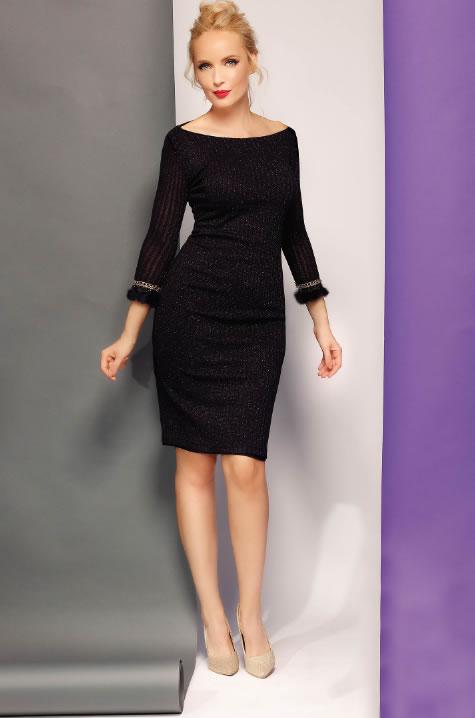 Rochie tricotata neagra cu maneci trei sferturi