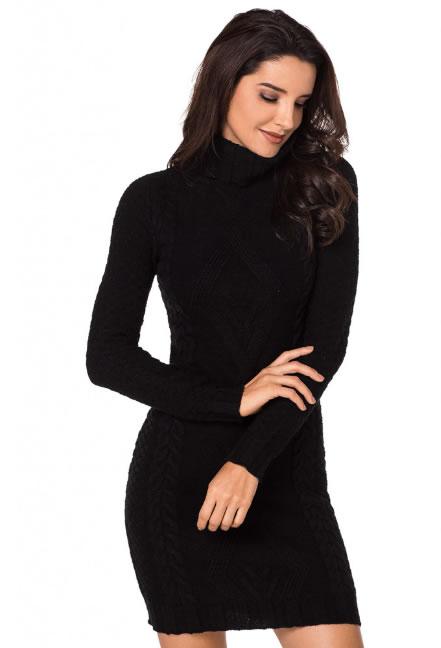 Rochie tricotata pe gat stil pulover