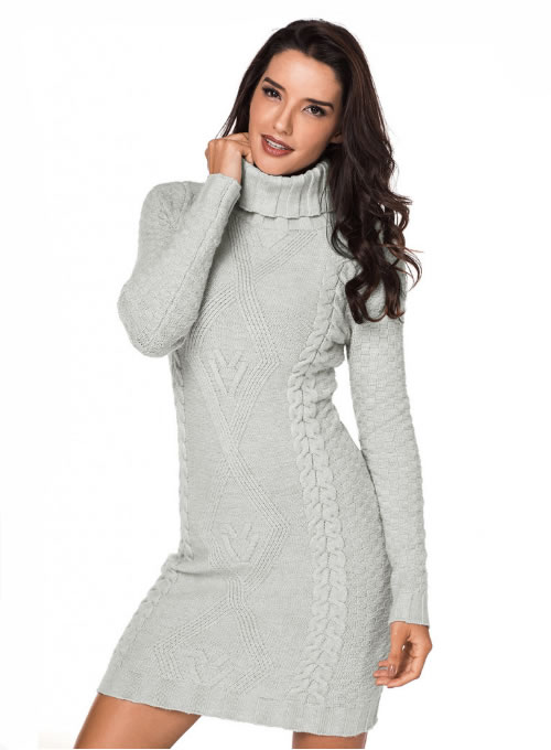 Rochie tricotata stil pulover pe gat