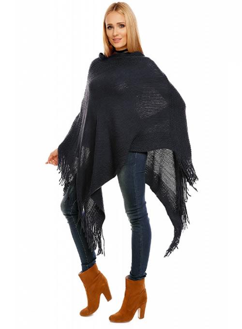 Poncho dama negru asimetric