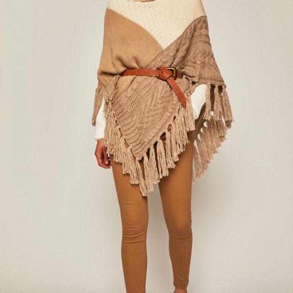 Poncho dama tricotat cu guler
