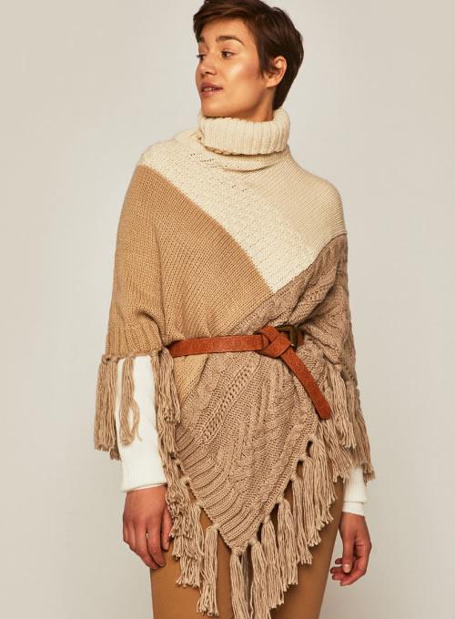 Poncho dama tricotat gros