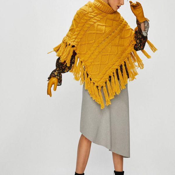 Poncho tricotat dama galben