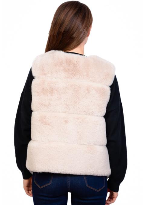 Vesta blana artificiala dama bej ieftina 2019