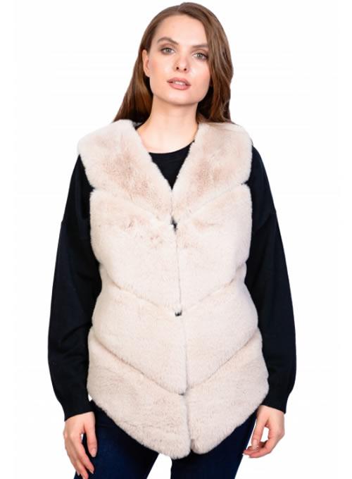 Vesta blana artificiala dama bej ieftina