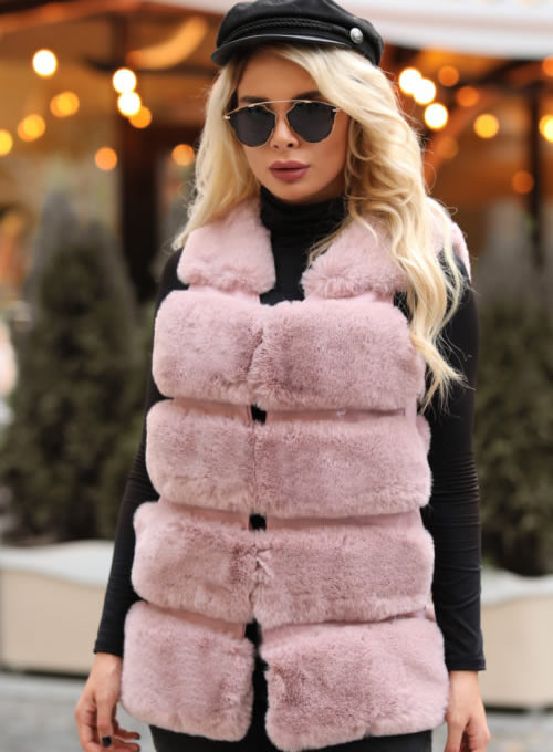Vesta blana artificiala dama roz scurta