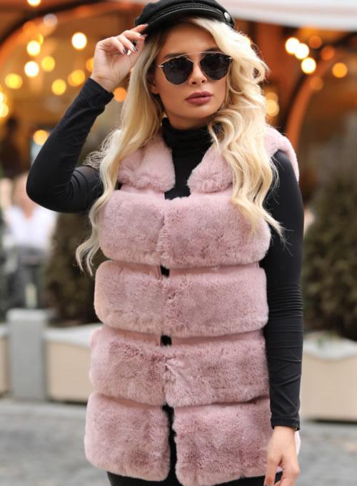 Vesta blana artificiala dama roz