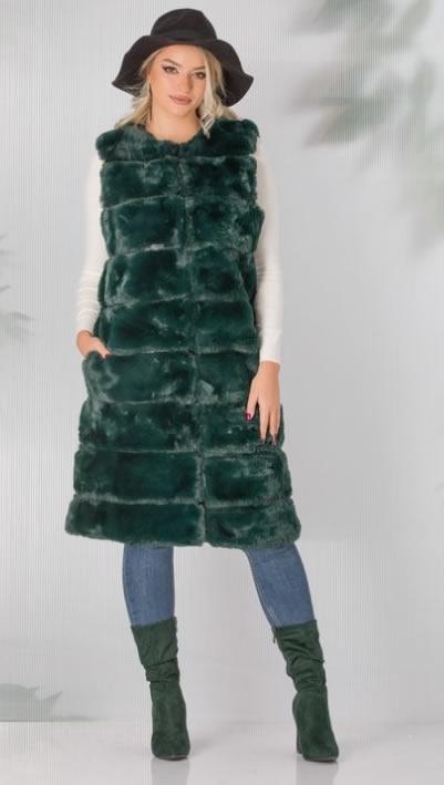 Vesta blana artificiala dama verde ieftina