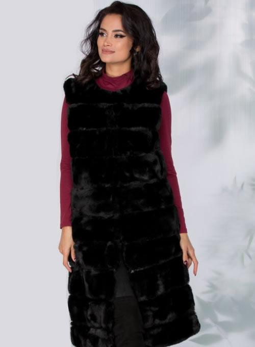 Vesta blana artificiala lunga dama