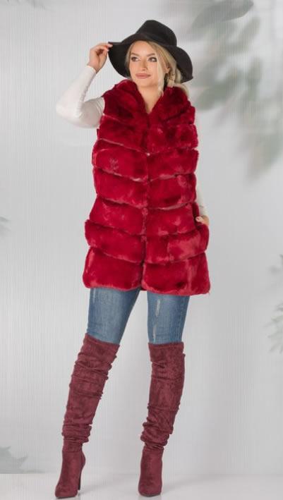Vesta blana artificiala rosie dama ieftina