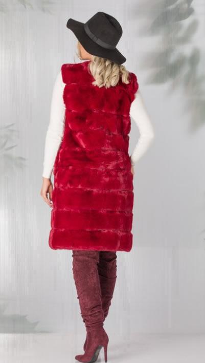 Vesta blana artificiala rosie ieftina