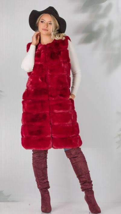 Vesta blana artificiala rosie