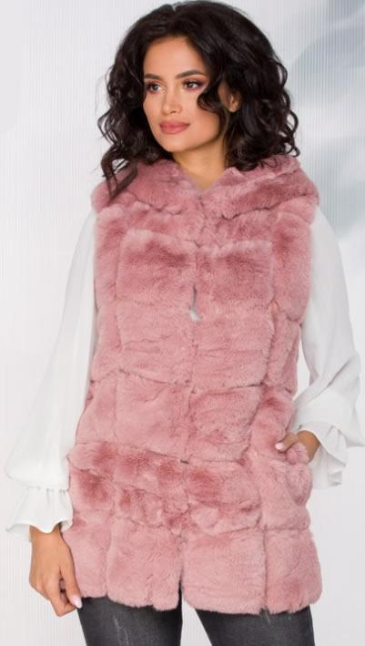 Vesta blana artificiala roz cu gluga