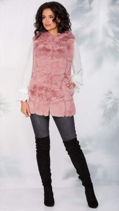 Vesta blana artificiala roz dama cu gluga