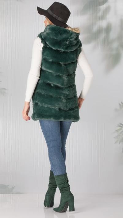 Vesta blana dama verde cu gluga