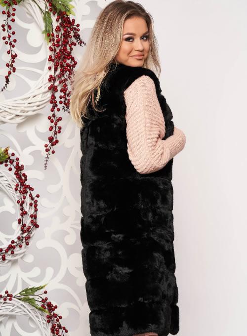 Vesta blana ecologica dama neagra ieftina