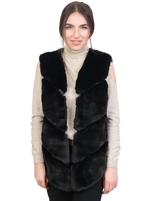 Vesta dama blana artificiala neagra