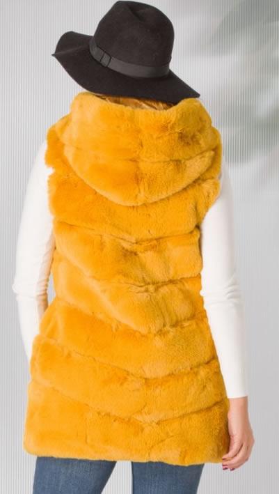Vesta de blana artificiala dama galbena cu gluga