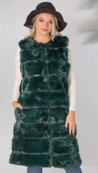 Vesta de blana artificiala dama verde
