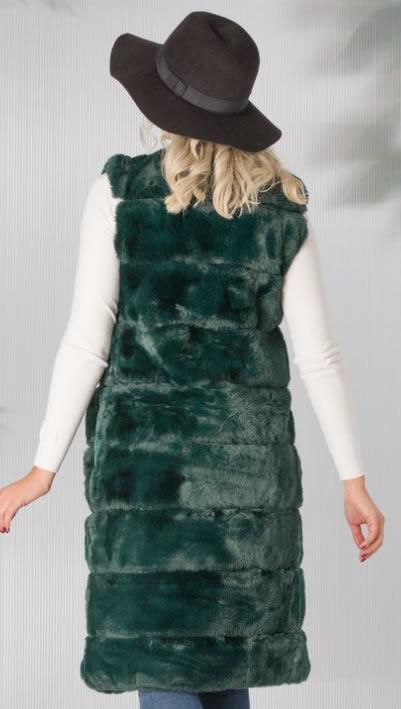 Vesta de blana artificiala de dama verde