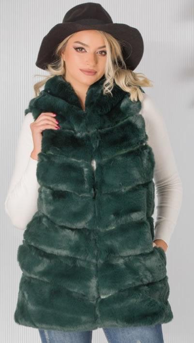 Vesta de blana dama verde cu gluga