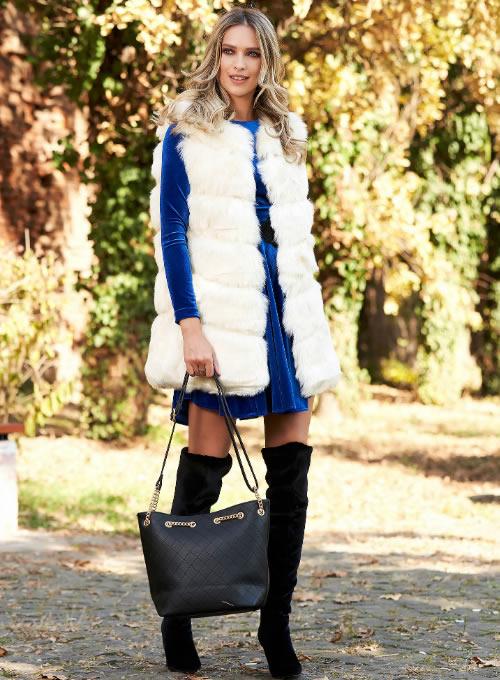 Vesta din blana artificiala dama alba ieftina
