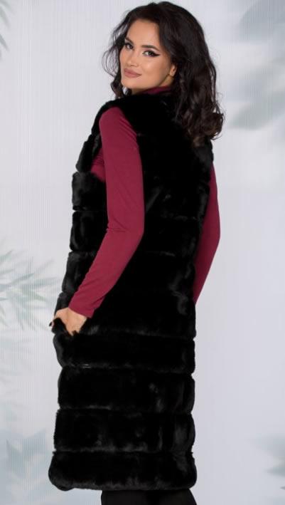 Vesta din blana artificiala dama lunga
