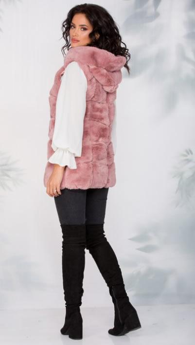 Vesta din blana artificiala roz cu gluga